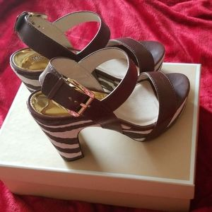 Brown Leather and Canvas Michael Kors Sandals